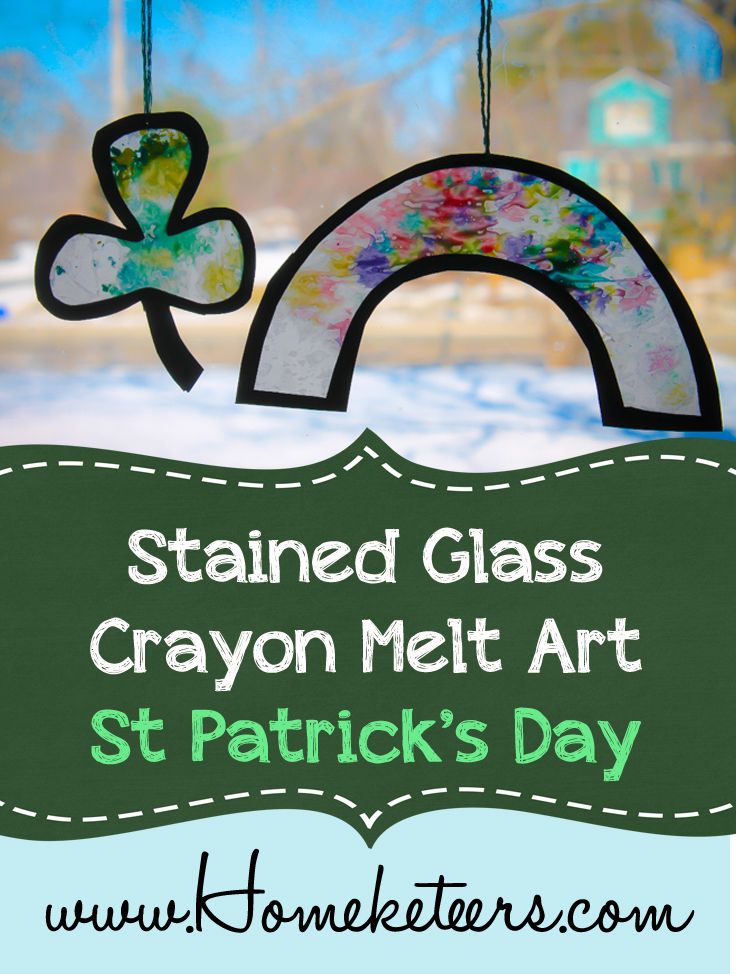 stained glass crayon melt art st patricks day kids craft